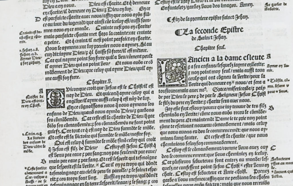 The Olivetan Bible in French, 1535.